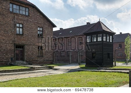 Block Of Houses In Concentration Camp In Auschwitz, Poland