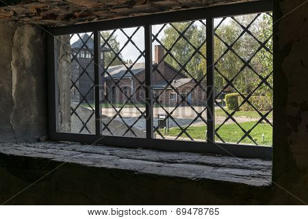 View From A Window At Auschwitz Concentration Camp In Poland