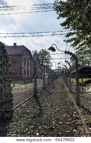 Corridor Of Electrified Barbed-wire Fences In Auschwitz Ii-birkenau Camp In Brzezinka, Poland.