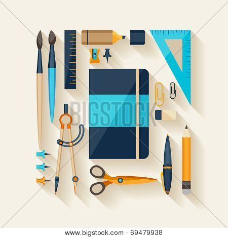 Flat design style. Workplace tools.