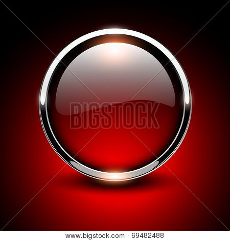 Shiny button red glossy metallic, vector illustration