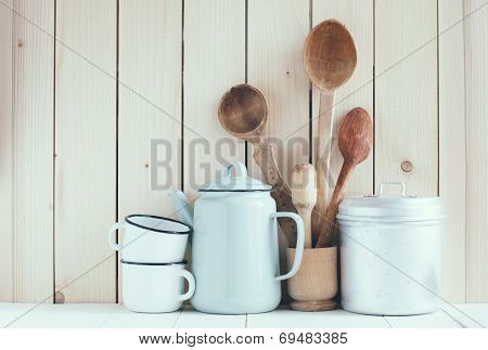 Coffee Pot, Enamel Mugs And Rustic Spoons