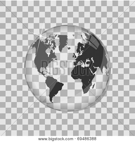 World map glass globe vector illustration
