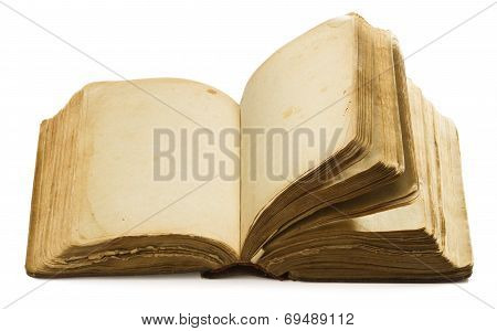 Book Open Old Blank Pages, Empty Yellow Paper Isolated On White Background