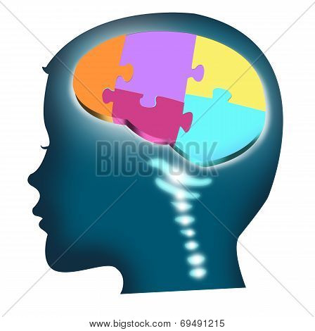Head of a child with puzzle brain. Isolated