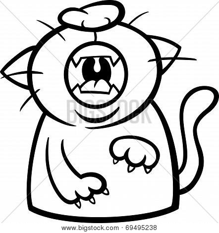 Cat Yawn Or Meow Coloring Page