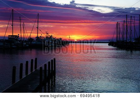 Harbor At Sunset
