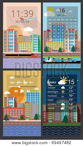Mobile interface wallpaper design with cityscape. Vector