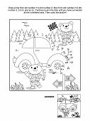 Постер, плакат: Dot to dot and coloring page car and bear mechanics