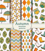 stock photo of rain-drop  - Set of autumn backgrounds - JPG