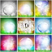 pic of land-mass  - Set of abstract background of globe with grass vector illustration - JPG