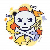 stock photo of kawaii  - Halloween kawaii print or card with cute doodle skull - JPG