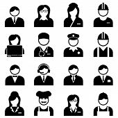 image of blue-collar-worker  - Blue and white collar professionals and workers icon set - JPG