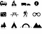 stock photo of wigwams  - camping and outdoor simple silhouette illustration set - JPG