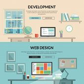 Set of flat design concept for web development t-shirt
