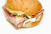 stock photo of deli  - Ham and Cheese Deli Sandwich on an Onion Roll - JPG