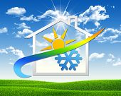 image of cold-weather  - House icon with weather symbol - JPG