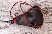 stock photo of wineskin  - Traditional wineskin made of leather - JPG