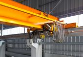stock photo of girder  - Factory overhead crane installation on rail 