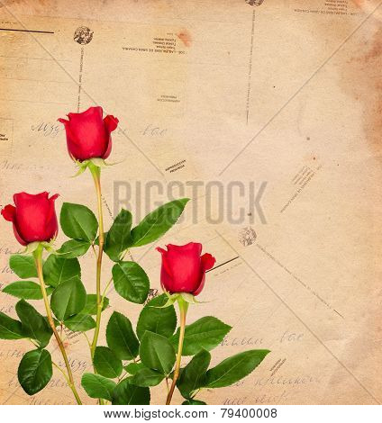 Vintage Background With Red Roses