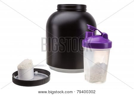 Gaining Muscle Mass. Protein And Shaker For Fitness And Bodybuilding.