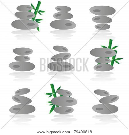 Japanese Zen Garden Stones And Babboo Icons Set Eps10