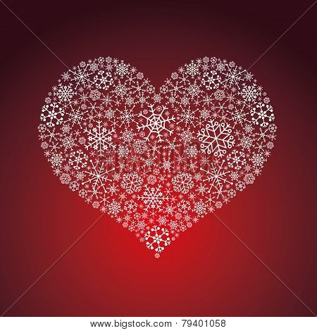 White And Red Valentine Hearth From Snowflakes Eps10