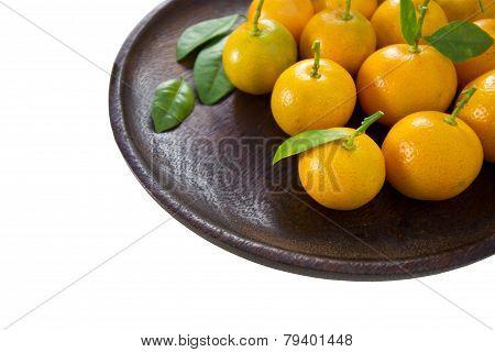 Orange (Citrus Japonica Thunb) on white background