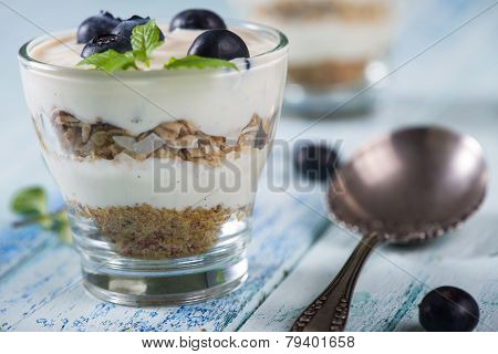 Fresh Summer Snack, Blueberries Yogurt And Muesli