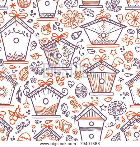 Bird houses pattern outlines