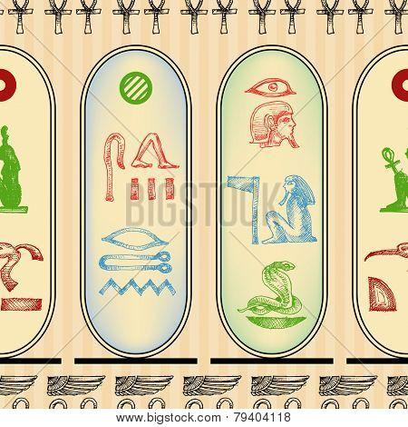 Egyptian hieroglyphics seamless pattern