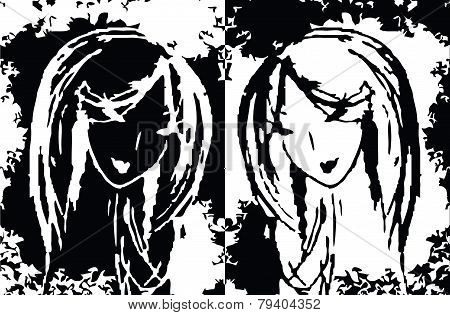 abstract two women as a symbol