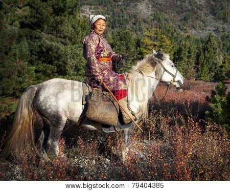 Woman riding a horse in a scenic view.