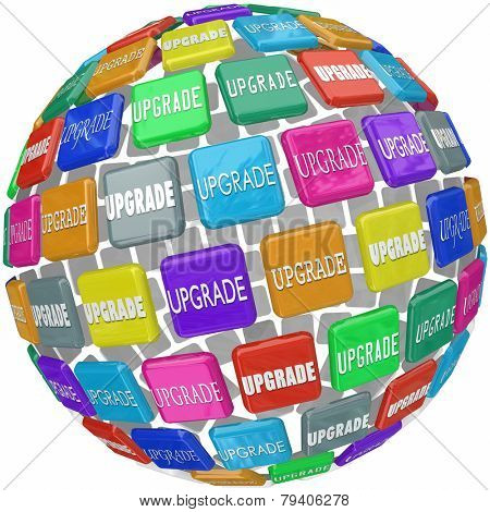 Upgrade word on 3d tiles in a ball or sphere to illustrate an upsell, update, advancement, improvement or boost in your level of service