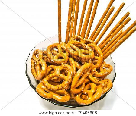 Many Tasty Salted Pretzels And Breadsticks