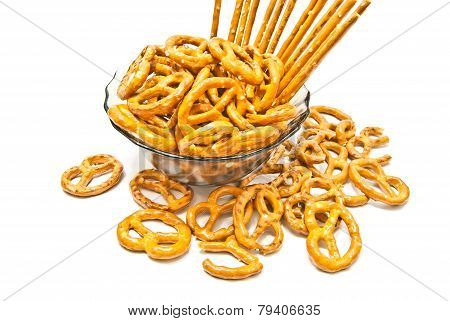 Breadsticks And Pretzels On A Plate