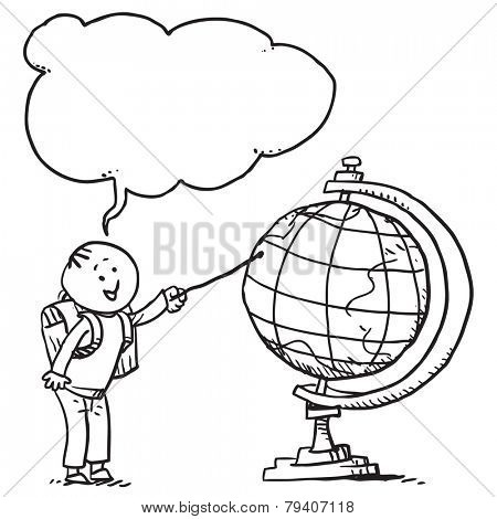 Schoolkid pointing on globe speaking