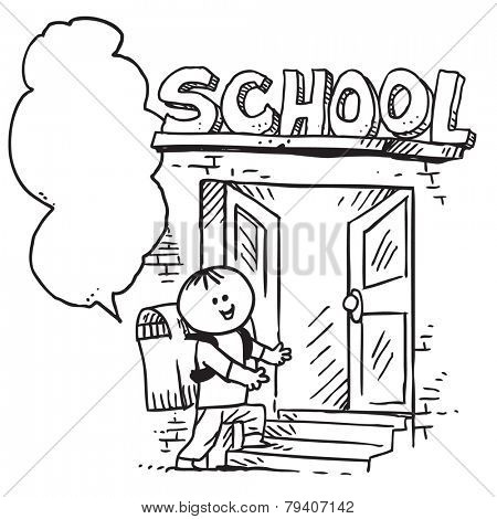 Schoolkid speaking and entering school (back to school concept)