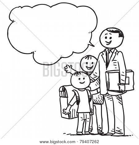 Teacher with schoolkids speaking