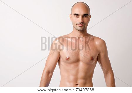 Portrait of a topless man.