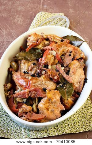 Rabbit Cooked In Beer With Bacon,  Juniper Berries And Bay Leaf