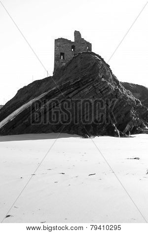 Black & White Historic Castle On A Cliff Edge