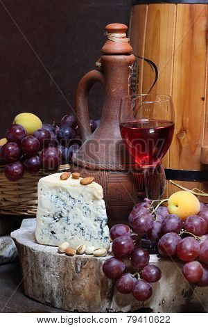 Wine, Fruit, Nuts And Cheese