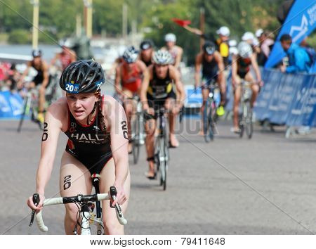 Lucy Hall Cycling In The Triathlon Event