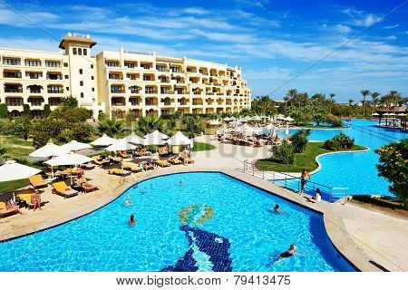 Hurghada, Egypt -  December 5: The Tourists Are On Vacation At Luxury Hotel On December 5, 2012 In H