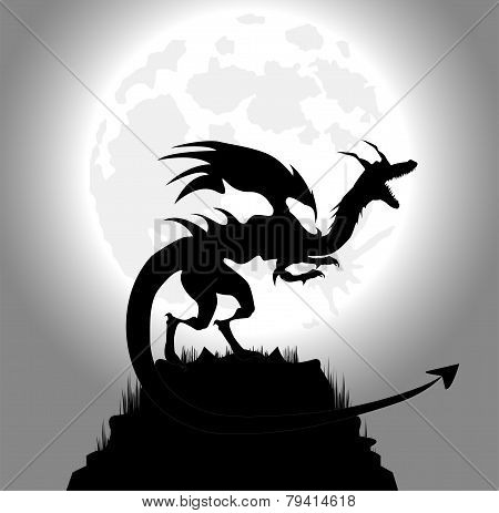 dragon in the night and full moon