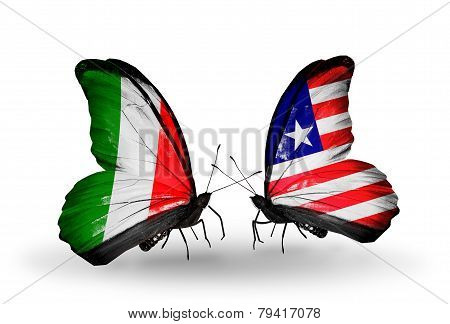 Two Butterflies With Flags On Wings As Symbol Of Relations Italy And Liberia