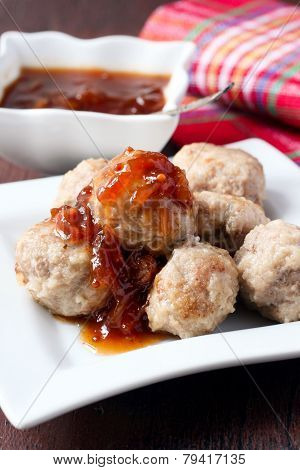 Meatballs And Plum Chutney