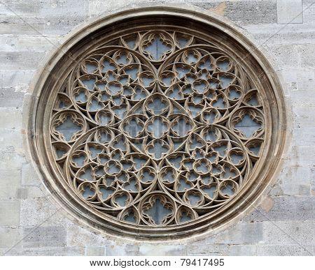 VIENNA, AUSTRIA - OCTOBER 10:  Rose window on St. Stephen's Cathedral in Vienna, Austria on October 10, 2014.