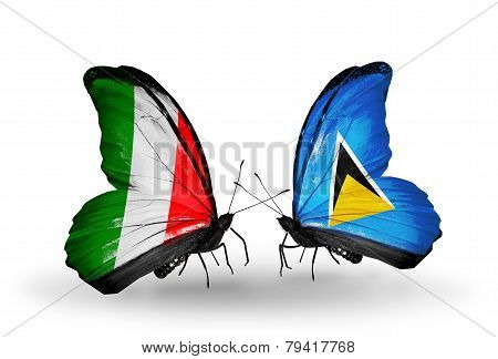 Two Butterflies With Flags On Wings As Symbol Of Relations Italy And Saint Lucia